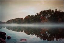 Mist on Driftwood river Columbus IN