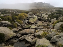 Mist rolls down the valley Kosciuszko National Park NSW Australia