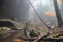 Misty Autumn Hike in the Hocking Hills of Ohio