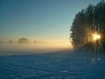 Misty evening in Pomerania Poland