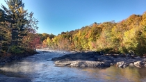 Misty rapids on a crisp Fall morning St Lawrence County NY