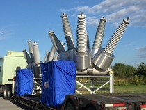 Mitsubishi Sulfur Hexafluoride high voltage circuit breakers being transported in Superior WI