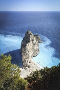 Mizithres a sea stack on the Greek Island of Zakynthos