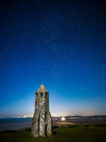Mobile shot of the pepperpot  isle of wight UK  Featuring a faint milkyway