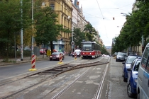 Mobile tram railway switch Californien being deployed in Prague
