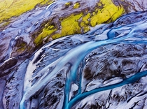 Modern art by mother nature a riverbed in Iceland  seen from above  - more of my abstract landscapes on insta glacionaut