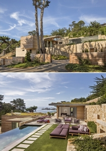 Modern Carmel Highlands residence constructed of stone and exposed wood California by Studio Schicketanz Photo Robert Canfield