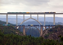 Modern high-speed rail viaduct next to the old railway bridge in Spain
