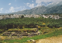 Modern Sparta Greece with ancient ruins in the foreground