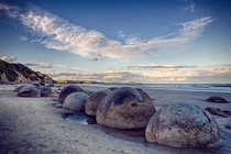 Moeraki Boulders at dusk New Zealand