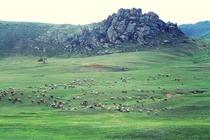 Mongolian landscape Outside of Ulaan Baatar OC