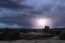 Monsoon season in the backcountry of Arches National Park UT