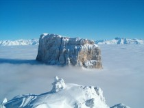 Mont Aiguille standing proud above the clouds - Vercors Plateau Isre France