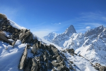 Mont Blanc and Grandes Jorasses from SwissItalian border alps
