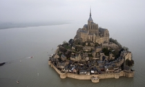 Mont Saint-Michel Normandy France during yesterdays supertide