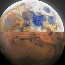 Montage made with an half of the Moon and the other from Mars the two first space object that human will colonise first