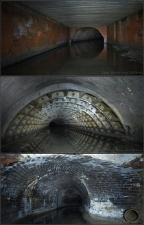 Montage of images of the culverting of Corn Brook which flows beneath Manchester England selected so as mximally to show the diversity of architecture of it in just three pictures