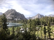 Montane Jeffrey pine collides with alpine granite peaks in the Sierra Nevada CA