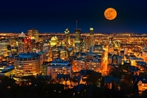Montreal Skyline Under the Harvest Moon