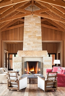 Monumental Limestone Fireplace in Greenest Custom Home in America - Portola Valley CA