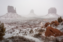 Monumental Winter Heres a photo of Monument Valley in the snow Utah  OC  For more photos IG johnperhach_photo_