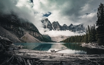 Moody morning in the Valley of the Ten Peaks Moraine Lake Banff Canada  OC IG arvindj