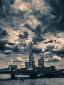 Moody view of the Shard in London England