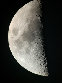 Moon captured with mobile phone through telescope at  days of astronomy annual meetings in Daruvar Croatia