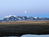 Moon during the sunrise in Wyoming