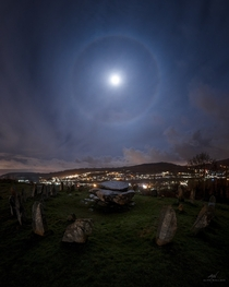 Moon halo in Wales Great Britain