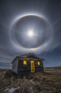 Moon Halo over abandoned house North Dakota