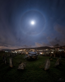 Moon Halo over Stone Circle