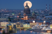 Moon Over Saint Isaacs Cathedral in Saint Petersburg Russia  photo by Ivan Smelov