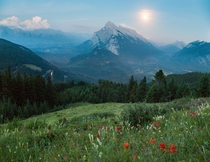 Moon Rise over Rundle Banff
