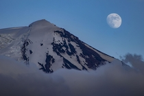 Moon Rising over Mt Adams WA USA