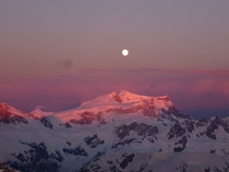 Moon setting over the Andes as seen from a Chilean Peak at sunrise