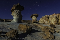 Moonlight over hoodoos at Stud Horse Point Glen Canyon Arizona  Guy Schmickle