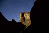 Moonlit canyon walls and night sky Oregon USA