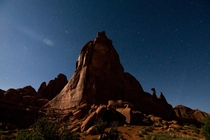 Moonlit Monolith Arches National Park Moab Utah