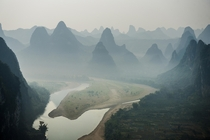 Moonlit mountains of the Li River Valley Xingping China