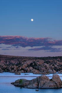 Moonrise at Sunset Watson Lake