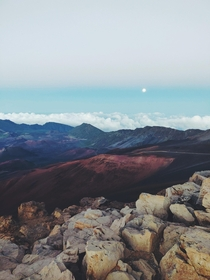 Moonrise at the Haleakala Crater   x