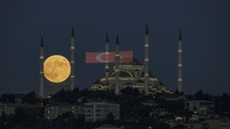 Moonrise Before the Eclipse Over Istanbul Turkey