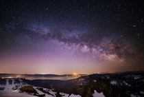 Moonrise Milky Way and the turquoise comet PLinear over Lake Tahoe last weekend