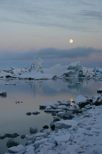 Moonrise over Glacier Lagoon Iceland