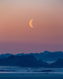 Moonrise over Lofoten Norway