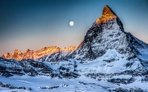 Moonrise over Matterhorn - by Rmy Hhener