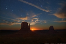 Moonrise Over Monument Valley  by Royces Nightscapes