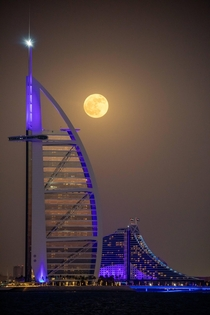 Moonrise over the Burj Al Arab Dubai UAE