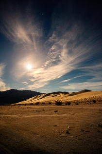 Moonrise over the Eureka Dunes Dry Camp in Death Valley CA